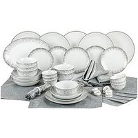 Product photograph showing Waterside 50-piece Silver Sparkle Dinner Set