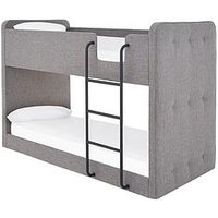 Product photograph showing Charlie Fabric Bunk Bed - Grey