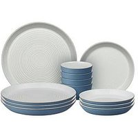 Product photograph showing Denby Impression Blue 12 Piece Dinnerware Set