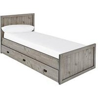 Product photograph showing Jackson Single Storage Bed With Mattress Options Buy And Save - Weathered Grey - Bed Frame With Standard Mattress