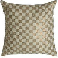 Product photograph showing Premier Housewares Kensington Townhouse Checkerboard Cushion Gold