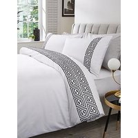 Product photograph showing Hotel Collection Greek Key 300tc Embroidered Panel Duvet Set - Ks