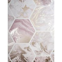 Product photograph showing Arthouse Marbled Hexagon Pink Rose Gold Wallpaper