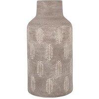 Product photograph showing Pacific Lifestyle Textured Matt Grey Fern Stoneware Vase