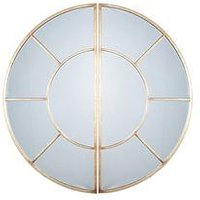 Product photograph showing Pacific Lifestyle Antique Gold Metal 2 Oval Section Wall Mirror