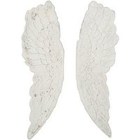 Product photograph showing Pacific Lifestyle Antique White Polyresin Angel Wings Wall Art