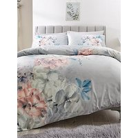Product photograph showing Floral Digi Print Velvet Duvet Set - Ks