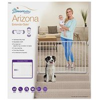 Product photograph showing Dreambaby Arizona 2-panel Extenda-gate 68-112cm - White Metal