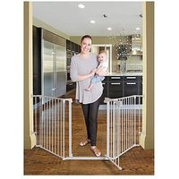 Product photograph showing Dreambaby Newport 3-panel Metal Adapta Gate - White Metal