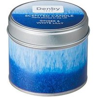 Product photograph showing Denby Blue Haze Candle Tin