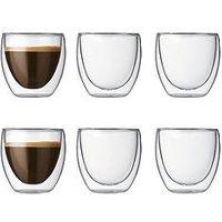 Product photograph showing Bodum Transparent Set Of 6 Pavina Double Wall Glasses 80ml
