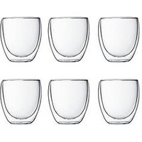 Product photograph showing Bodum Transparent Set Of 6 Pavina Double Wall Glasses 250ml