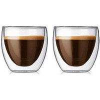 Product photograph showing Bodum Transparent Set Of 2 Pavina Double Walled Extra Small Thermo Glasses 80ml