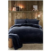 Product photograph showing Fusion Ribbed Teddy Fleece Duvet Cover Set - Navy