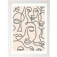 Product photograph showing East End Prints Single Line Faces By Sundry Society A3 Framed Print