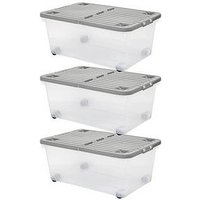 Product photograph showing Wham Set Of 3 45l Wheeled Boxes With Folding Lid - 45 Litre