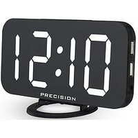 Product photograph showing Precision Dual Usb Charger Alarm Clock