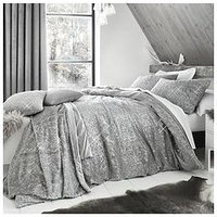 Product photograph showing By Caprice Vivian Sparkle Faux Fur Duvet Cover Set - Grey
