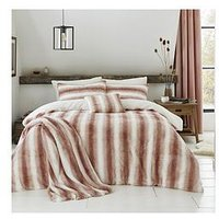 Product photograph showing By Caprice Mae Faux Fur Duvet Set - Blush