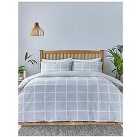 Product photograph showing Silentnight Silentnight Grey Check Duvet Set - Sk