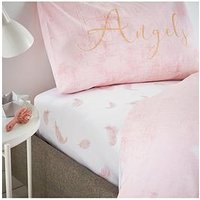 Product photograph showing Catherine Lansfield Catherine Lansfield Angel Glitter Fitted Sheet - Ks