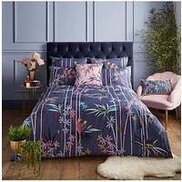 Product photograph showing Sara Miller Linear Bamboo Duvet Cover Set