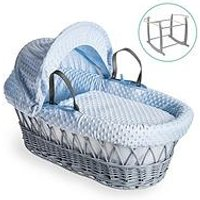 Product photograph showing Clair De Lune Dimple Grey Wicker Basket With Grey Deluxe Stand - Blue