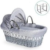 Product photograph showing Clair De Lune Dimple Grey Wicker Basket With Grey Deluxe Stand - Grey