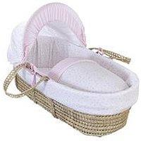 Product photograph showing Clair De Lune Stars Stripes Palm Moses Basket - Pink