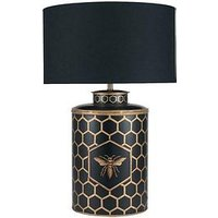 Product photograph showing Pacific Lifestyle Hand Painted Honeycomb Metal Table Lamp