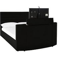 Product photograph showing Kingsley Faux Leather Tv Bed Frame - Fits Up To 32 Inch Tv - Bed Frame Only