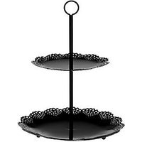 Product photograph showing Premier Housewares 2 Tier Black Cake Stand