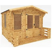 Product photograph showing Mercia 3 3m X 3 4m Log Cabin With Veranda - 19mm