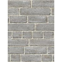 Product photograph showing Nuwallpaper Brick Fa Ade Grey Stick On Wallpaper