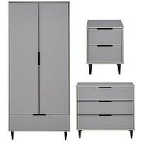Product photograph showing Ashley Childrens 3 Piece Package - 2 Door 1 Drawer Wardrobe 3 Drawer Chest And 2 Drawer Bedside Chest - Grey