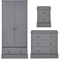 Product photograph showing Harvey Childrens 3 Piece Package - 2 Door 1 Drawer Wardrobe 3 Drawer Chest And 2 Drawer Bedside Chest