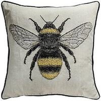 Product photograph showing Gallery Tapestry Bee Cushion - Natural