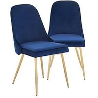 Product photograph showing Pair Of Ivy Velvet Dining Chairs - Navy Brass