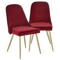 Product photograph showing Pair Of Ivy Velvet Dining Chairs - Claret Brass