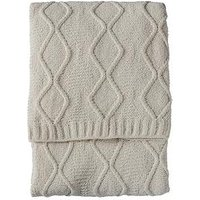 Product photograph showing Gallery Chenille Knit Cable Throw - Cream