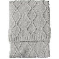 Product photograph showing Gallery Chenille Knit Cable Throw - Melange Grey