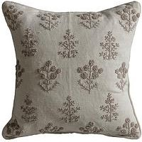 Product photograph showing Gallery Floral Embroidered Cushion - Natural