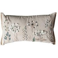 Product photograph showing Gallery Amaryllis Embroidered Floral Cushion - Natural