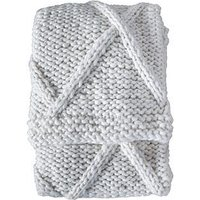 Product photograph showing Gallery Cable Knit Diamond Throw - Cream