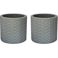 Product photograph showing Ivyline Pack Of 2 Wave Grey Cement Planters