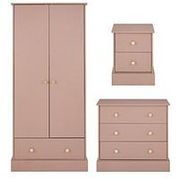 Product photograph showing Hermione Childrens 3 Piece Package - 2 Door 1 Drawer Wardrobe 3 Drawer Chest And 2 Drawer Bedside Chest