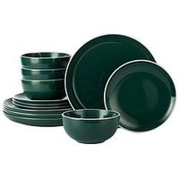 Product photograph showing Waterside 12 Piece Halo Emerald Green Dinner Set