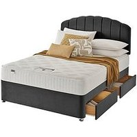 Product photograph showing Silentnight Ava Memory 1000 Pocket Velvet Divan Bed With Storage Options Headboard Included