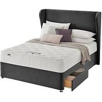 Product photograph showing Silentnight Shea Memory 1000 Pocket Velvet Divan Bed With Storage Options Headboard Included