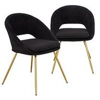 Product photograph showing Set Of 2 Mono Open Back Dining Chairs